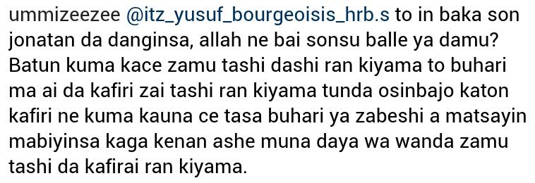 """""""Buhari da kafiri zai tashi ranar kiyama, kuma zan iya kutuntumamai zagi ba abinda ya dameni"""">>Ummi Zeezee"""