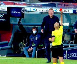 Kocin Barcelona, Ronald Koeman ya samu jan kati yayin da kungiyar tasha kashi daci 2-1 a hannun Granada