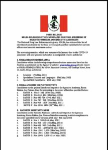 Press : NDLEA RELEASES LIST OF CANDIDATES FOR FINAL SCREENING OF NARCOTIC OFFICERS AND NARCOTIC ASSISTANTS