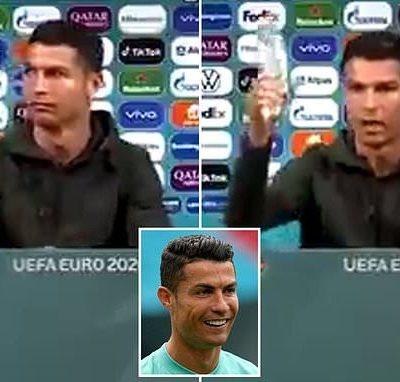 """""""Ku sha ruwa"""">>Cristiano Ronaldo bayan kawar da kwalaben Coca Cola da suka dauki nauyin gasar Euro gaban sa"""